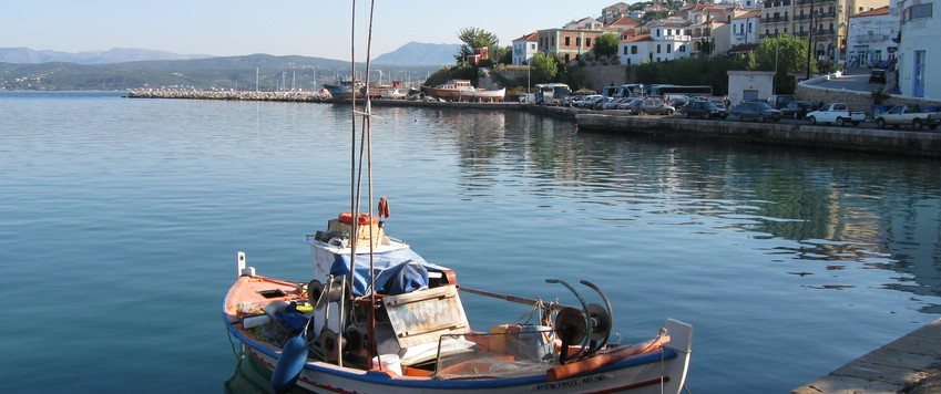 Pylos Boat in Harbour - Pelops Greek Houses